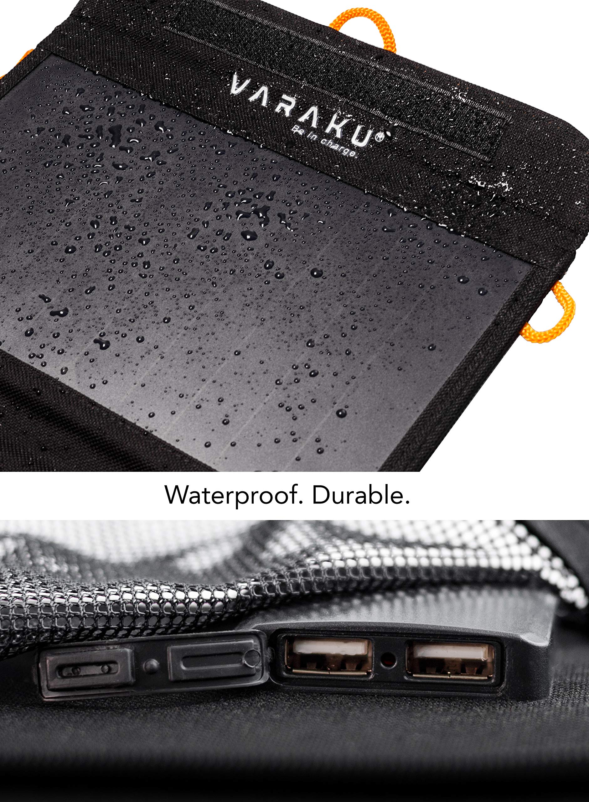 Portable Solar Charger 10W - Dual USB Solar Panel Foldable – Best Power for, iPhone, X, 8, 7, 6s, iPad, Cell Phone Android & Electronic Devices - Waterproof Sun Phone Charger for Camping & Hiking by VARAKU (Image #3)