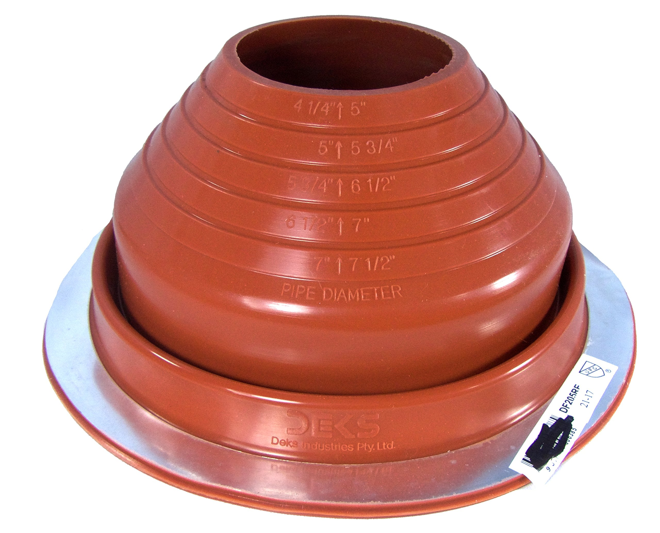 (DF205RE) #5 RED Round High Temp Silicone Flexible Pipe Flashing Dektite fits OD pipe sizes 4'' - 7'' Metal Roof Jack Pipe Boot - Metal Roofing Pipe Flashing