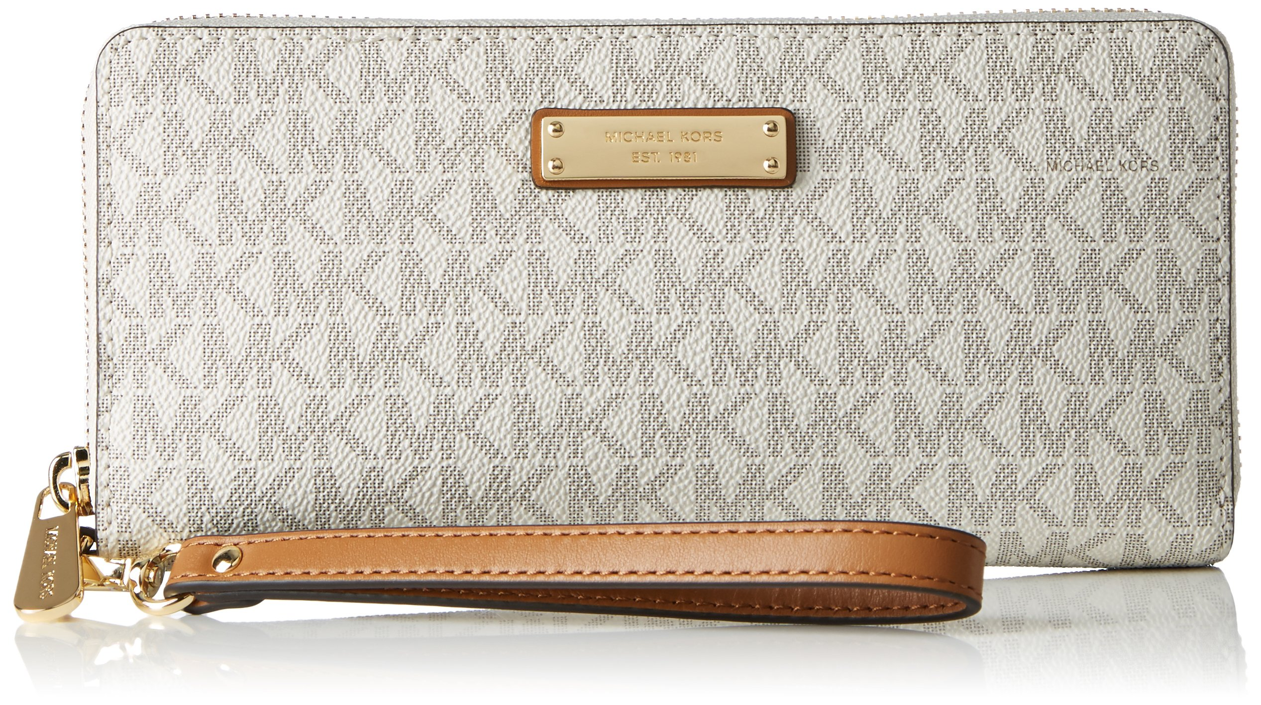 Michael Michael Kors Womens Michael Kors Jet Set Signature Travel Wristlet, White by Michael Michael Kors