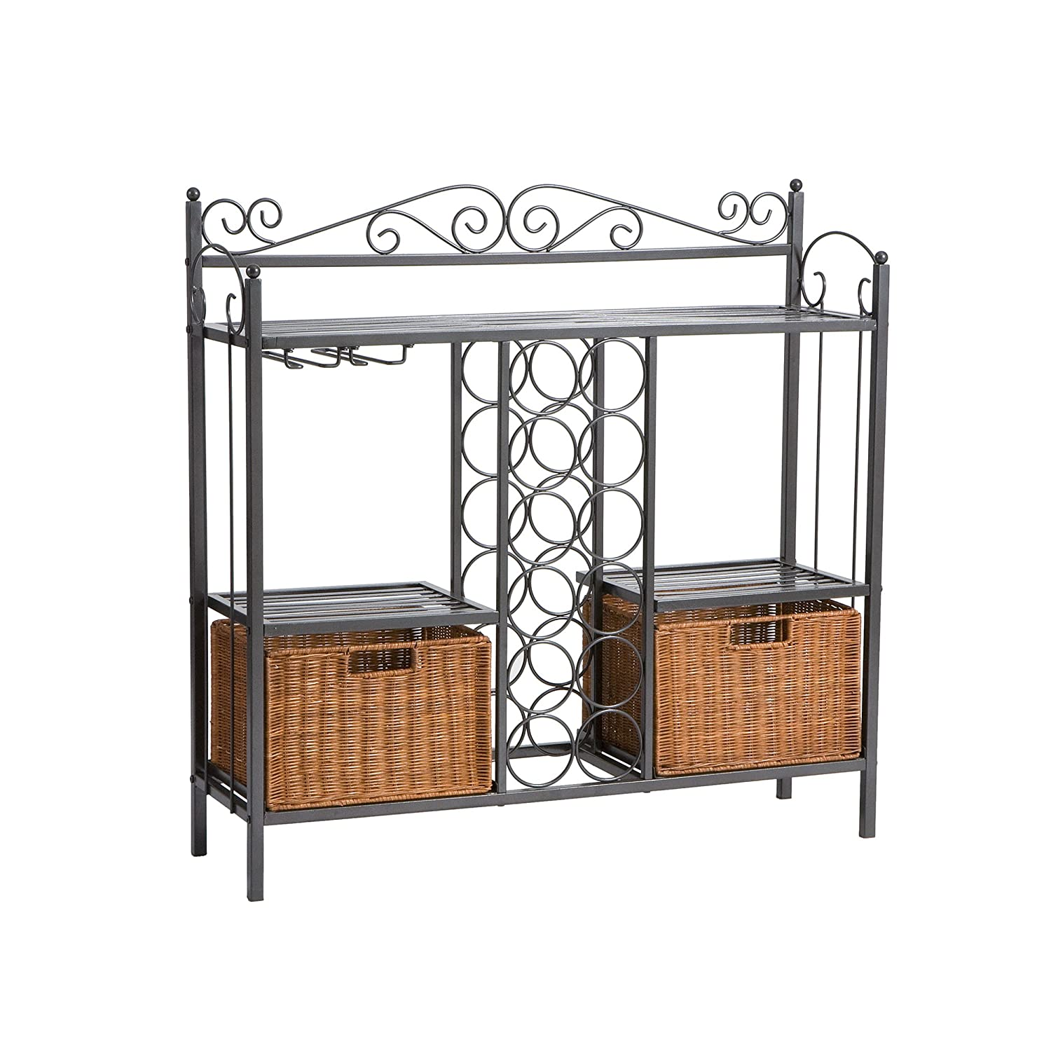 harper blvd baker s rack with wine storage kitchen