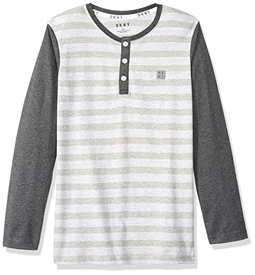 f9bcb753 DKNY Boys' Little Long Sleeve Color Block and Microstripe Henley Shirt,  White Heather 4