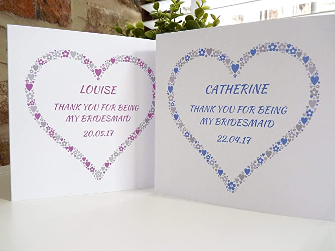 Personalised Thank You For Being My Bridesmaid Card Bridesmaid