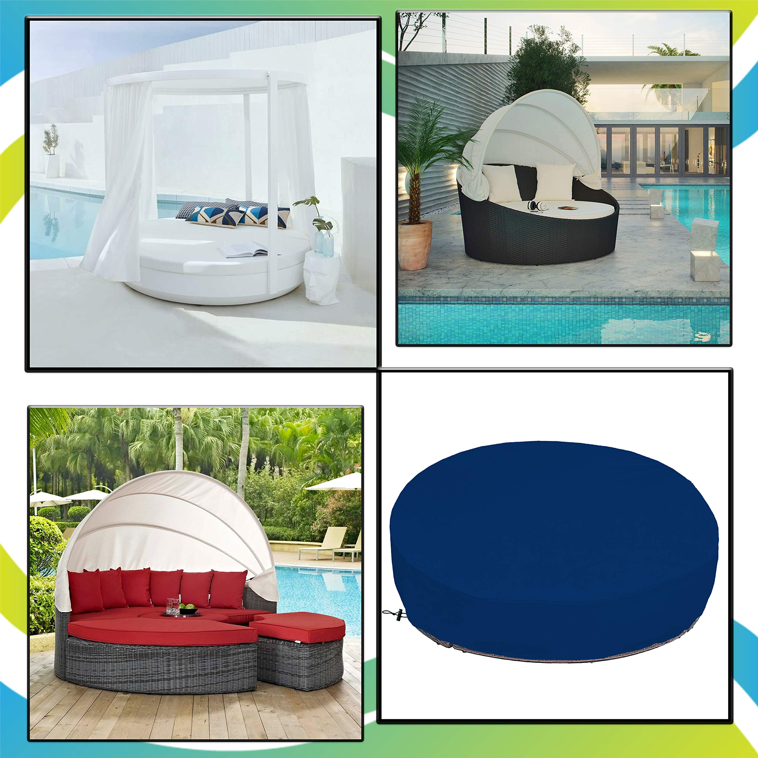 COVERS & ALL Outdoor Daybed Cover 18 Oz Waterproof - 100% UV & Weather Resistant Patio Furniture Cover with Air Pockets and Drawstring for Snug fit (Blue) by COVERS & ALL (Image #6)