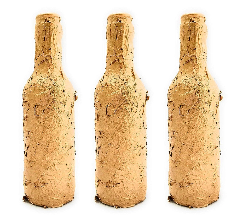 Botellas con suerte - Pack 3 Botellitas Voll-Damm Decoración Botella Vidrio Color Oro de 20cm de alto: Amazon.es: Handmade