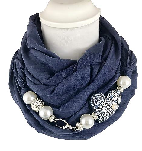 l'ultimo 27f8d 31400 Sciarpa gioiello, foulard donna blu scuro con dettaglio ...