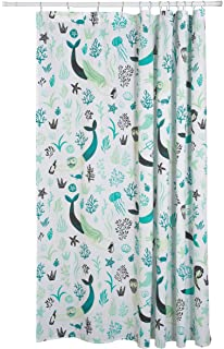 Sea Spell Mermaid Ocean 72 X Inch Cotton Shower Curtain With Resuable Storage Bag