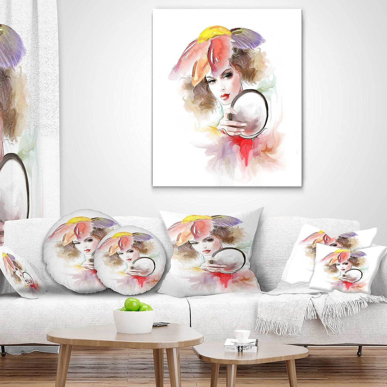 Designart CU6698-12-20 Woman with Mirror Throw Pillow 12 x 20