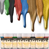 CRAFT Metallic Acrylic Paint Set - 8 Colors: Multi, Gold, Silver, Bronze, Copper - Shiny Metallic Effect - Premium…