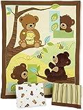 Bedtime Originals Honey Bear 3 Piece Crib Bedding Set, Brown/Green