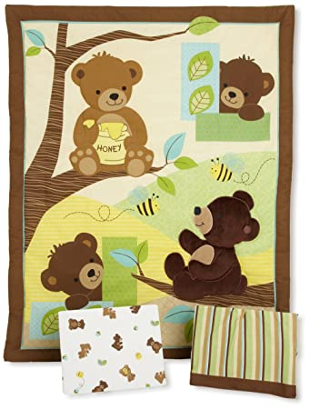 Elegant Bedtime Originals Honey Bear 3 Piece Crib Bedding Set, Brown/Green