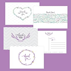 "One Jade Lane - Floral Medley, Thank You Cards (Self-mailer) POSTCARDS ""Postage Saver"" (Set of 40)."