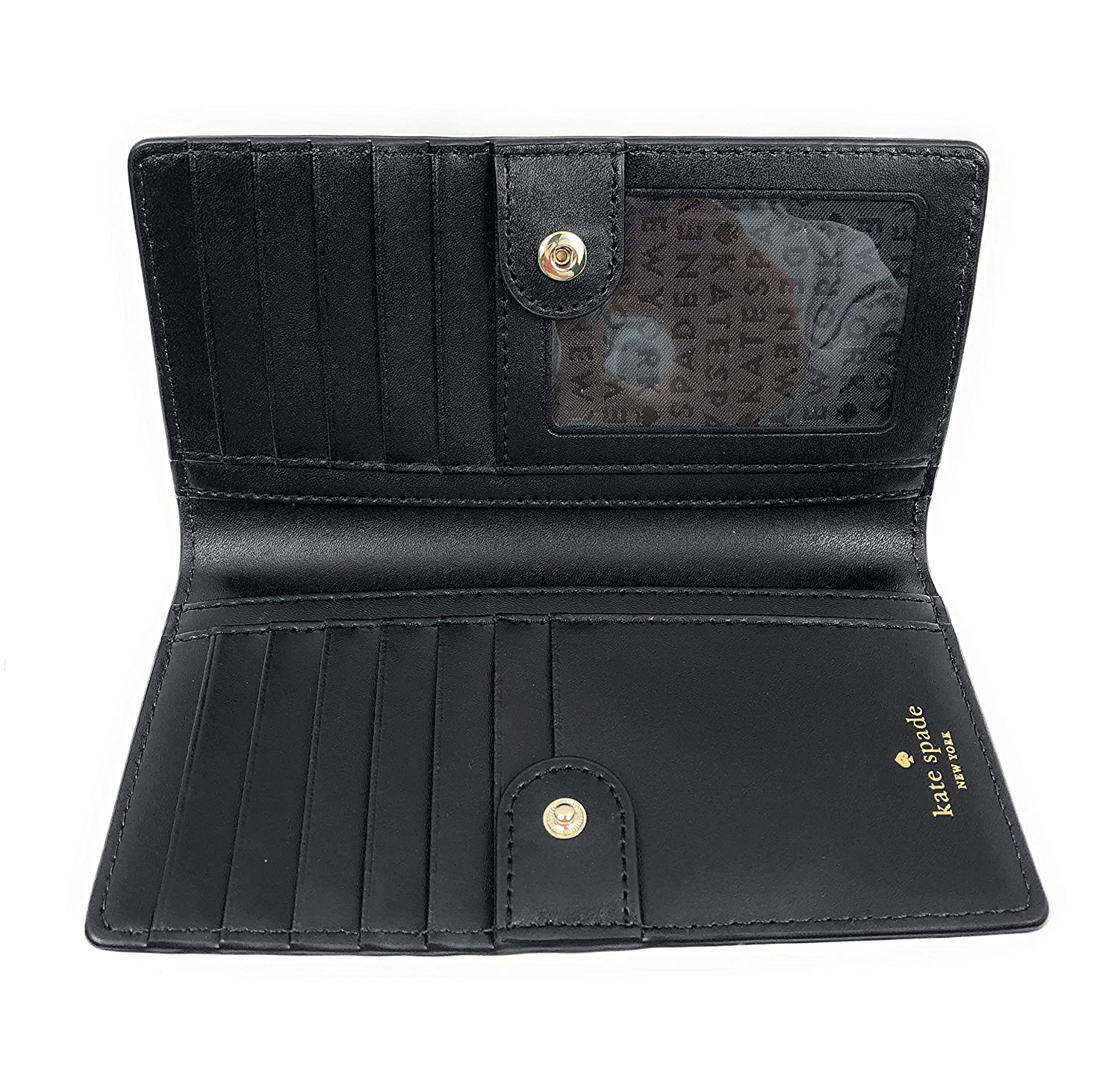 ee64bf215b78 Kate Spade Pearl Stacy Serrano Place Black Leather Wallet Clutch ...