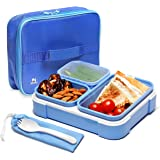 Reusable Bento Box Adults & kids Lunch Box Set - Insulated Bent Lunch Box with 3 Removable Compartments with Leakproof Lids -
