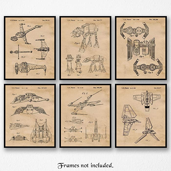 Vintage Star Wars Vessels Vehicles Patent Art Poster Prints, Set of 6 Photos (8x10) Unframed, Great Wall Art Decor Gifts Under 20 for Home, Office, Man Cave, Student, Teacher, Comic-Con & Movies Fan