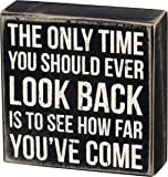 Primitives by Kathy Classic Box Sign, 5 x 5-Inches, Look Back