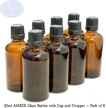 Pack de 8 botellas con tapón de seguridad negro y cuentagotas ...