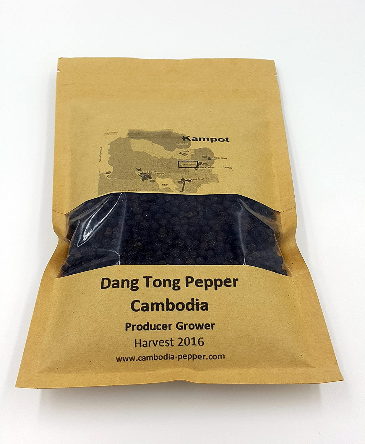 Rare Cambodian Pepper - KAMPOT - DANG TONG Black Pepper Gourmet Pepper whole Peppercorns 200 Gr - 7 Onces producer Grower harvest 2016 Cambodia