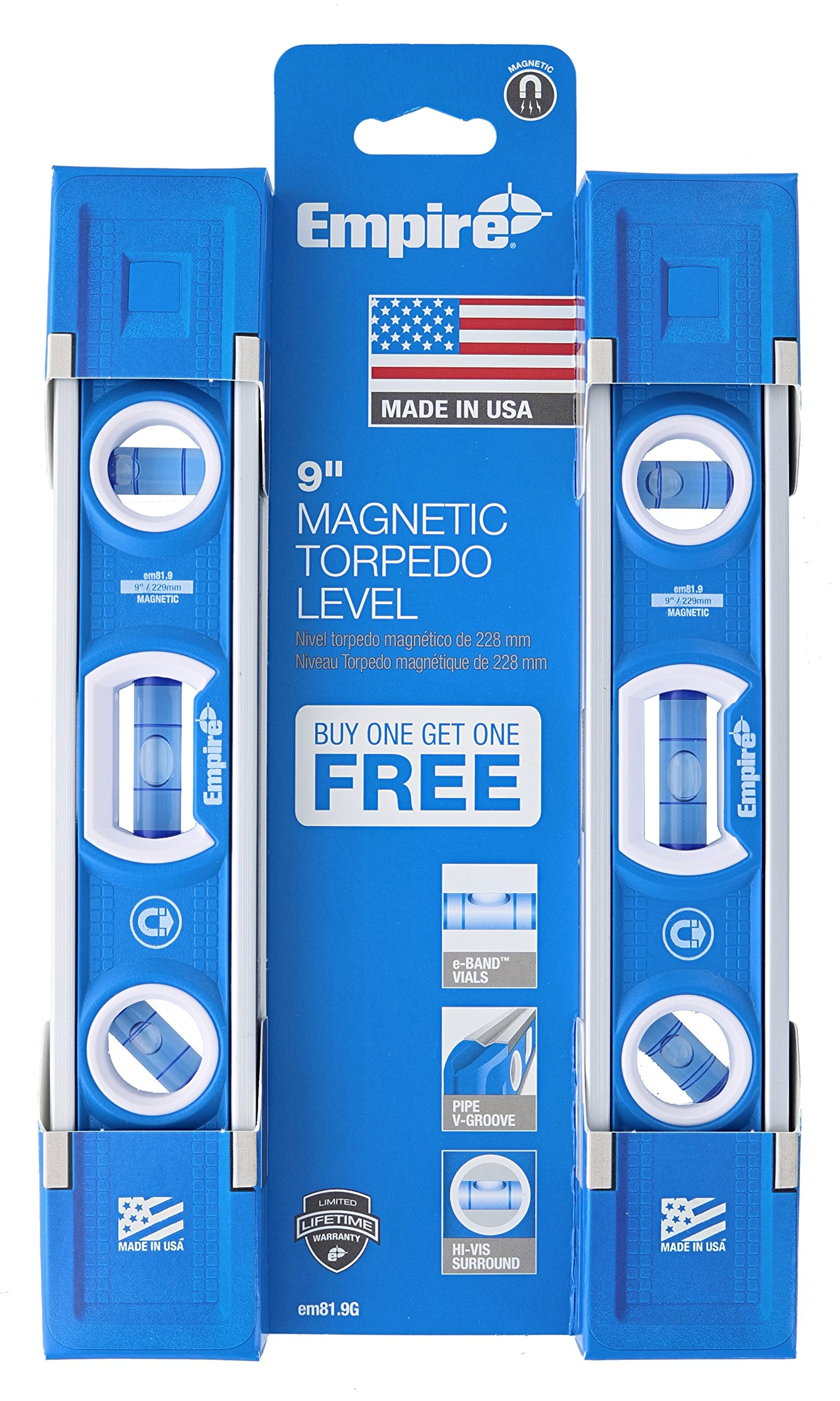 Empire EM81.9 True Blue 9-Inch Heavy-duty Magnetic Aluminum Torpedo Level (Twin Pack) by EMPIRE (Image #7)