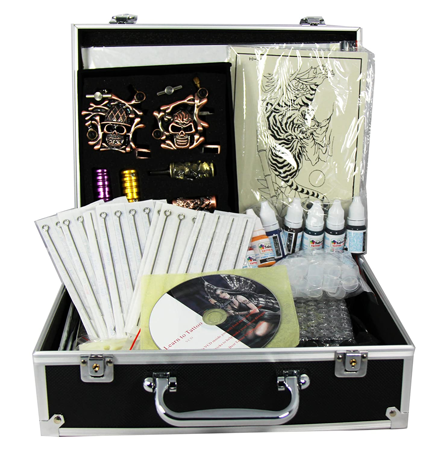 Professional Tattoo Kit 4 Machine Guns Power Supply Disposable Needles Inks (Double...