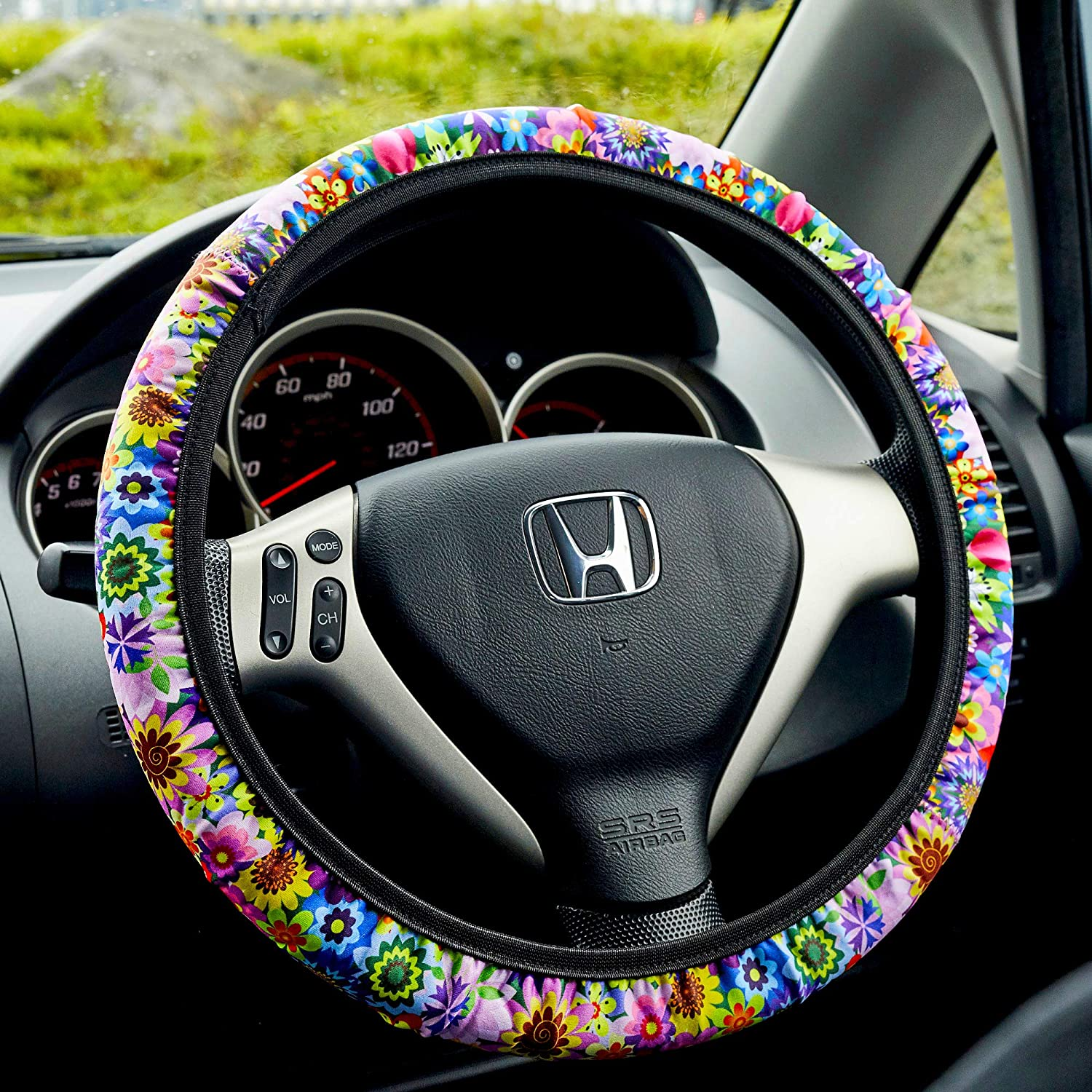 Women and Ladies Toppers Floral Steering Wheel Cover for Women Universal Fit No Tools Needed Anti Slip Cute Steering Wheel Cover for Girls