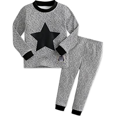12M-7T Boys 100% Cotton Sleepwear Pajama 2 Pieces Set Black Star
