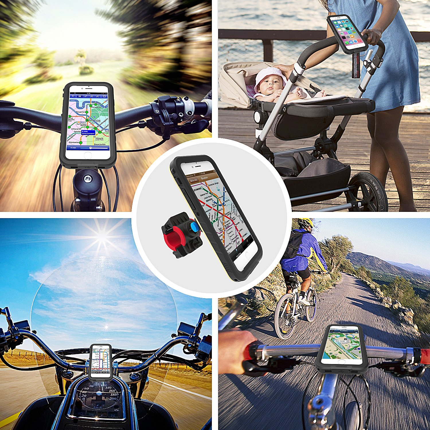 Samsung Ga CLIP-BIKE Clipster Bike Phone Mount for iPhone and Smartphones iPhone 8 Plus 6S 7 Universal Mount Compatible with iPhone X 6 Plus Bike and Pushchair Mount with One Touch Lock /& Release Feature