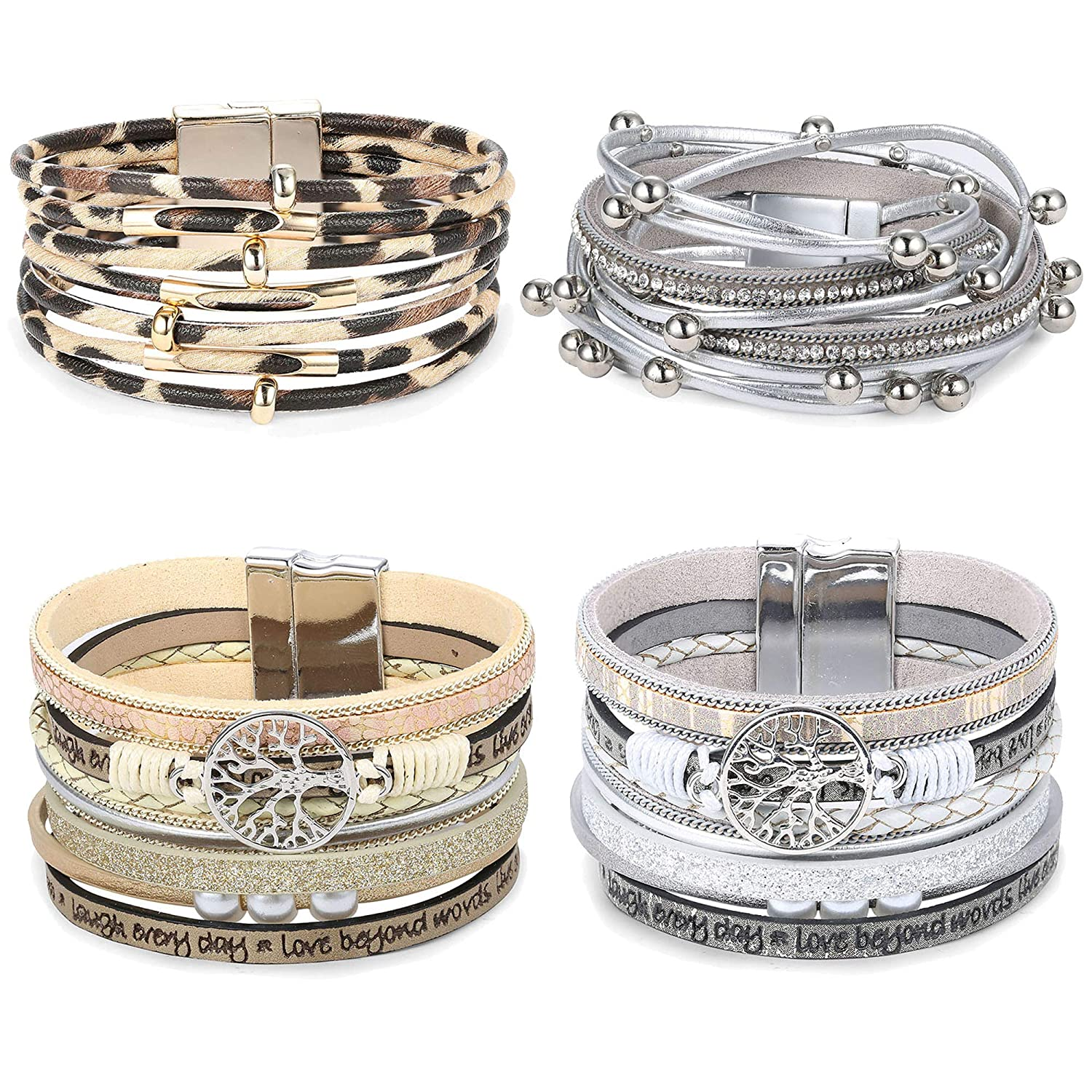 Thunaraz 4Sets Multi-Layer Leather Wrap Bracelet Stackable Handmade Wristband Braided Rope Cuff Bangle with Magnetic Buckle Jewelry