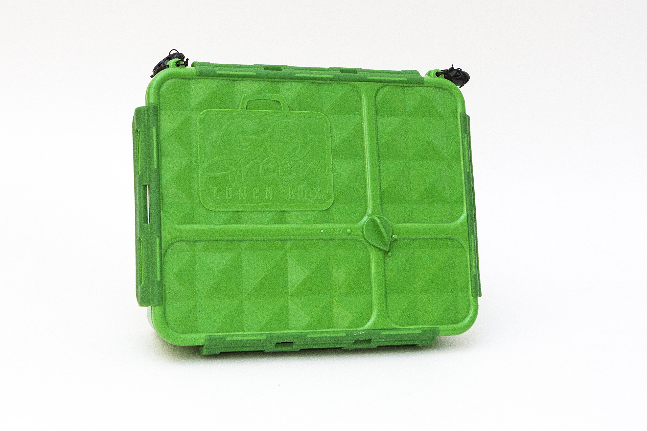 Go Green Lunch Box (Bento Style Lunch - Break - Snack Boxes) 3 Sizes with 4 or 5 Compartments LeakProof Technology with Silicone Seals | FOOD BOX ONLY | Adults and Kids (Break Box - Green)
