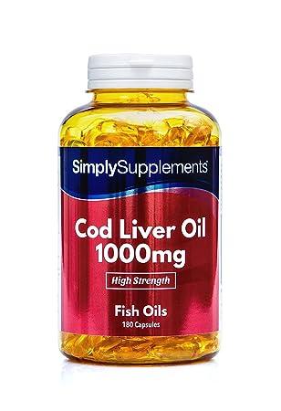 Aceite de Bacalao 1000 mg - 180 cápsulas - Hasta 6 meses de suministro - Con Omega 3 para tu salud cardiovascular - SimplySupplements