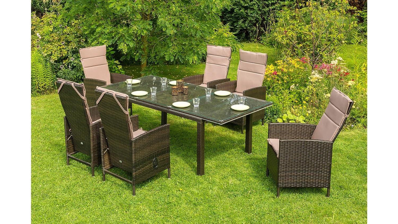 baumarkt direkt Gartenmöbelset Madrid Premium, 6 Sessel, Tisch 150 ...