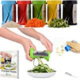 Kitofin Vegetable Spiral Slicer Spiralizer -Zucchini Spaghetti Maker - Spiral Cutter -Julienne Peeler-Kitchen Gadget Comes With Garlic Peeler - Cleaning Brush - Recipes E-book. (Green)