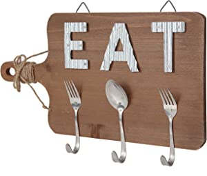 TERESA'S COLLECTIONS Eat Sign Wall Decor, Kitchen Wooden Farmhouse Decor Sign, Decorative Hanging Metal Letters and Hooks, Dining Room Wall Art 17x10 inch