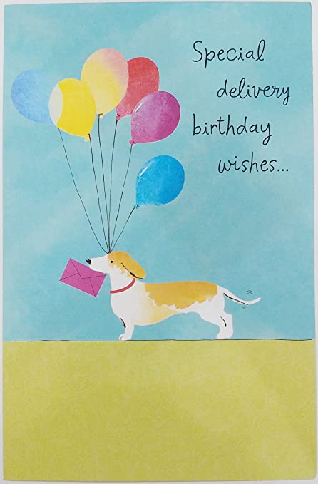 Special Delivery Birthday Wishes Dog W Balloons Greeting Card Quotfor A Year