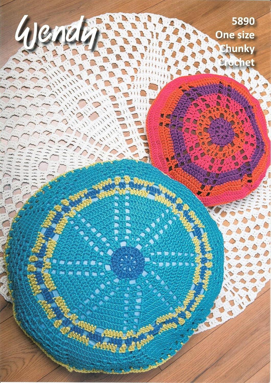 Wendy 5890 Crochet patrón alfombra cojín, cojín de suelo y ...