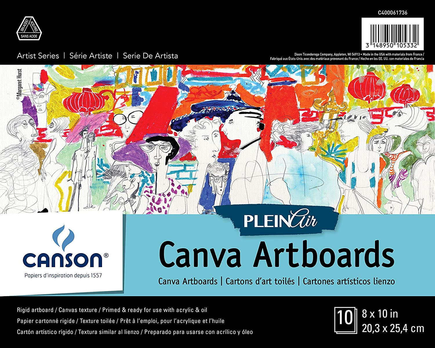Oil and Acrylic Set of 10 Boards 9 x 12 Inch Canson Plein Air Canva Rigid Art Boards for Paints or Sticks