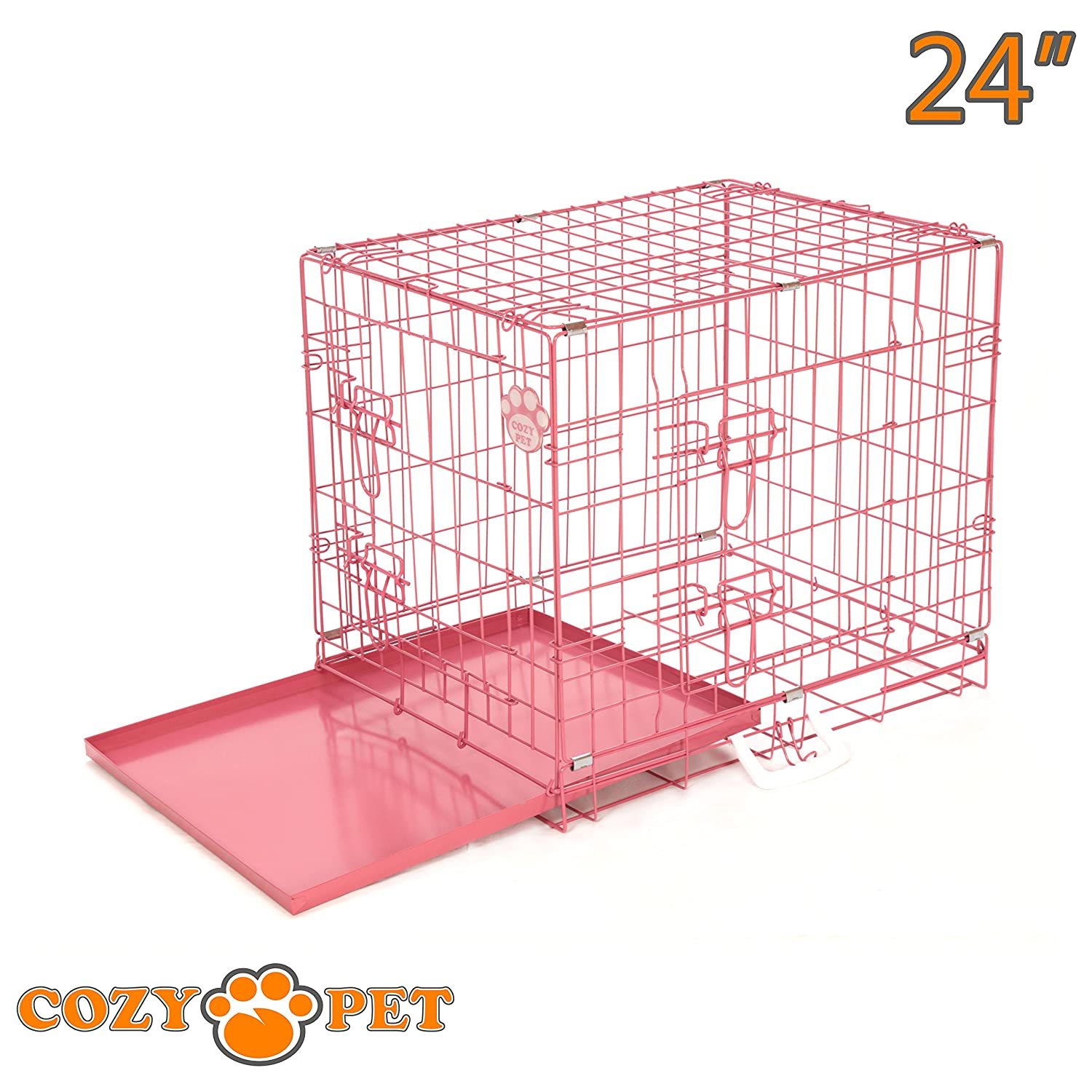 We do not ship to the Channel Islands or The Isles of Scilly. Cozy Pet Dog Cage 24 Silver Metal Tray Folding Puppy Crate Cat Carrier Dog Crate DC24S.