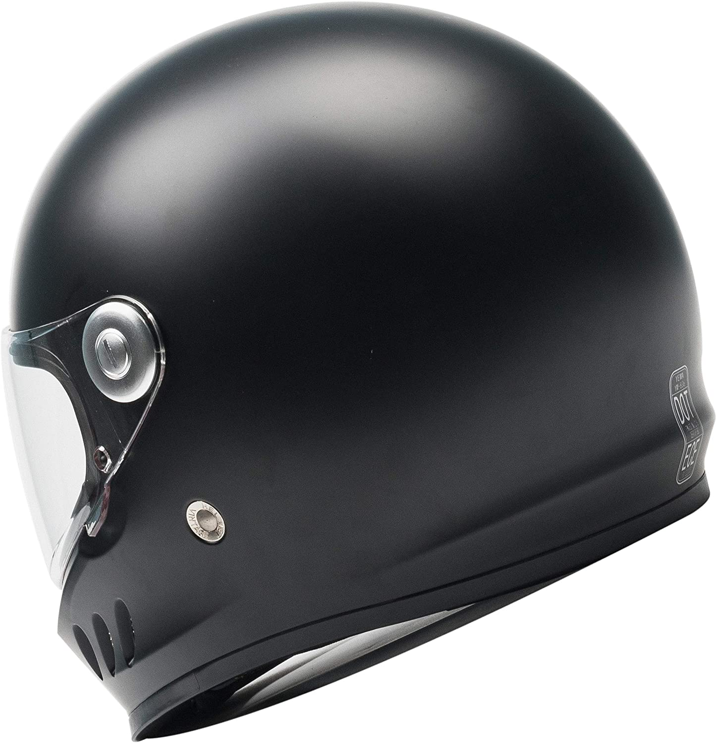 YEMA YM-833 Motorbike Moped Street Bike Racing Crash Helmet with Clear Visor for Adult XL Matte Black Men and Women Motorcycle Full Face Helmet DOT And ECE Approved