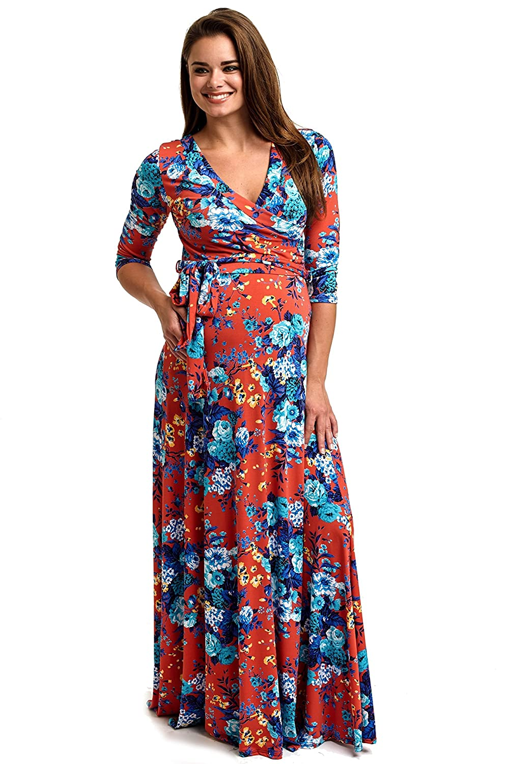 b8e369c7d76d PinkBlush Maternity Red Floral Draped 3/4 Sleeve Maternity Maxi Dress,  Small at Amazon Women's Clothing store: