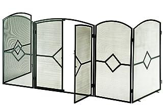 Pudincoco Folding Fire Guard 5 Panel Acceso paso a paso Chimenea de seguridad interior Pantalla de metal Cerca de la decoraci/ón del hogar