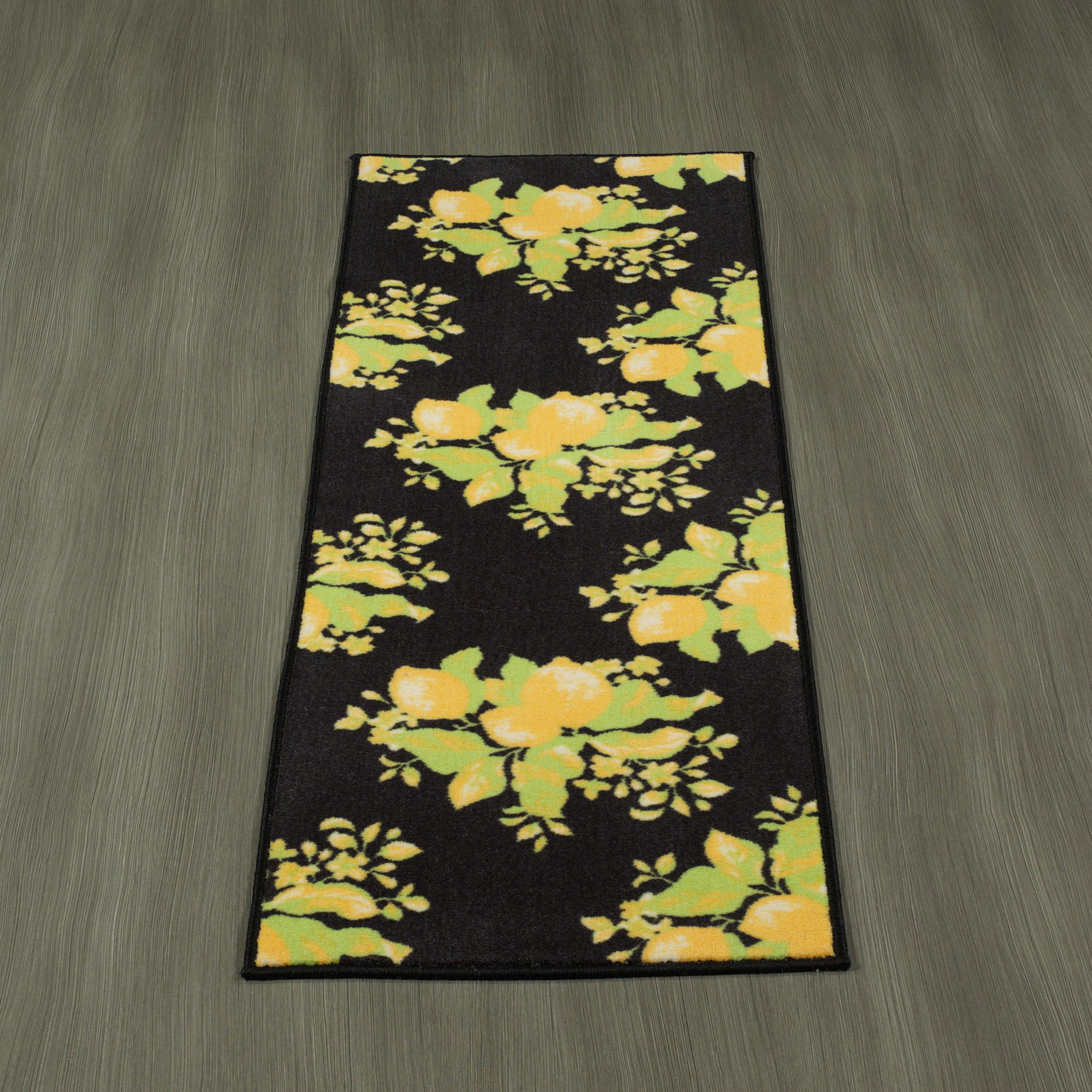 Ottomanson Lemon Collection Contemporary Black Lemons Design Runner Rug with (Non-Slip) Kitchen and Bathroom Mat, Black, 20'' x 59''
