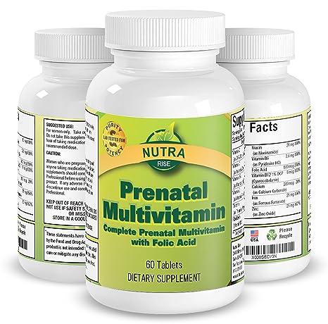 Multivitamínico Prenatal, vitaminas completas para el embarazo con ácido fólico para el desarrollo sano del