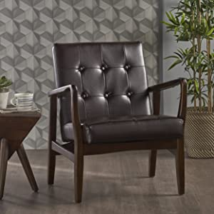 GDF Studio 302419_New Conrad Mid Century Modern Arm Chair Faux Leather (Brown)