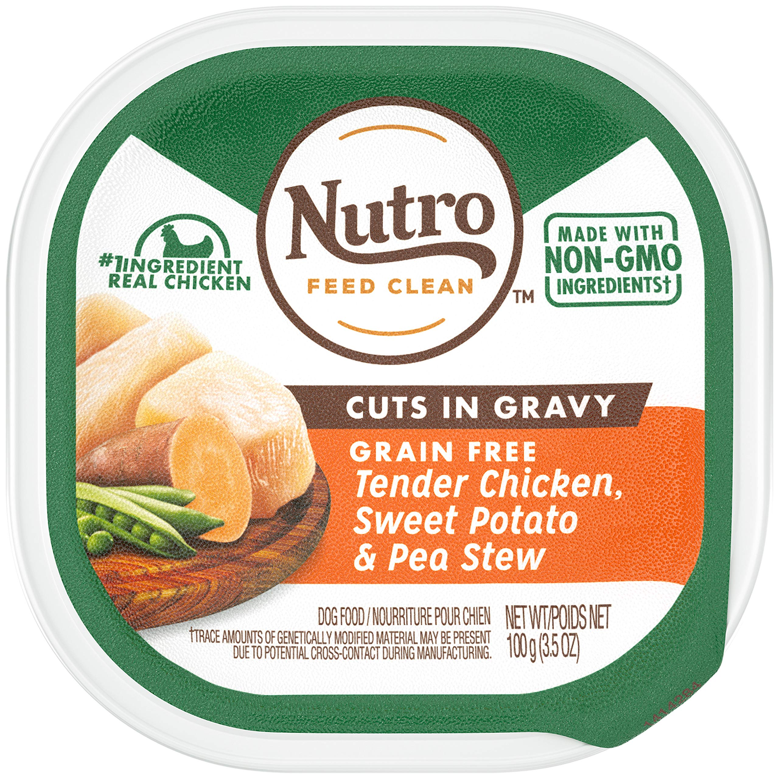 NUTRO Adult High Protein Natural Grain Free Wet Dog Food Cuts in Gravy Tender Chicken, Sweet Potato & Pea Stew, (24) 3.5 oz. Trays by Nutro