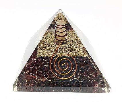 Garnet Crystal Healing Orgone Pyramid/includes 4 Crystal Quartz Energy Points/EMF Protection Meditation Yoga Energy Generator