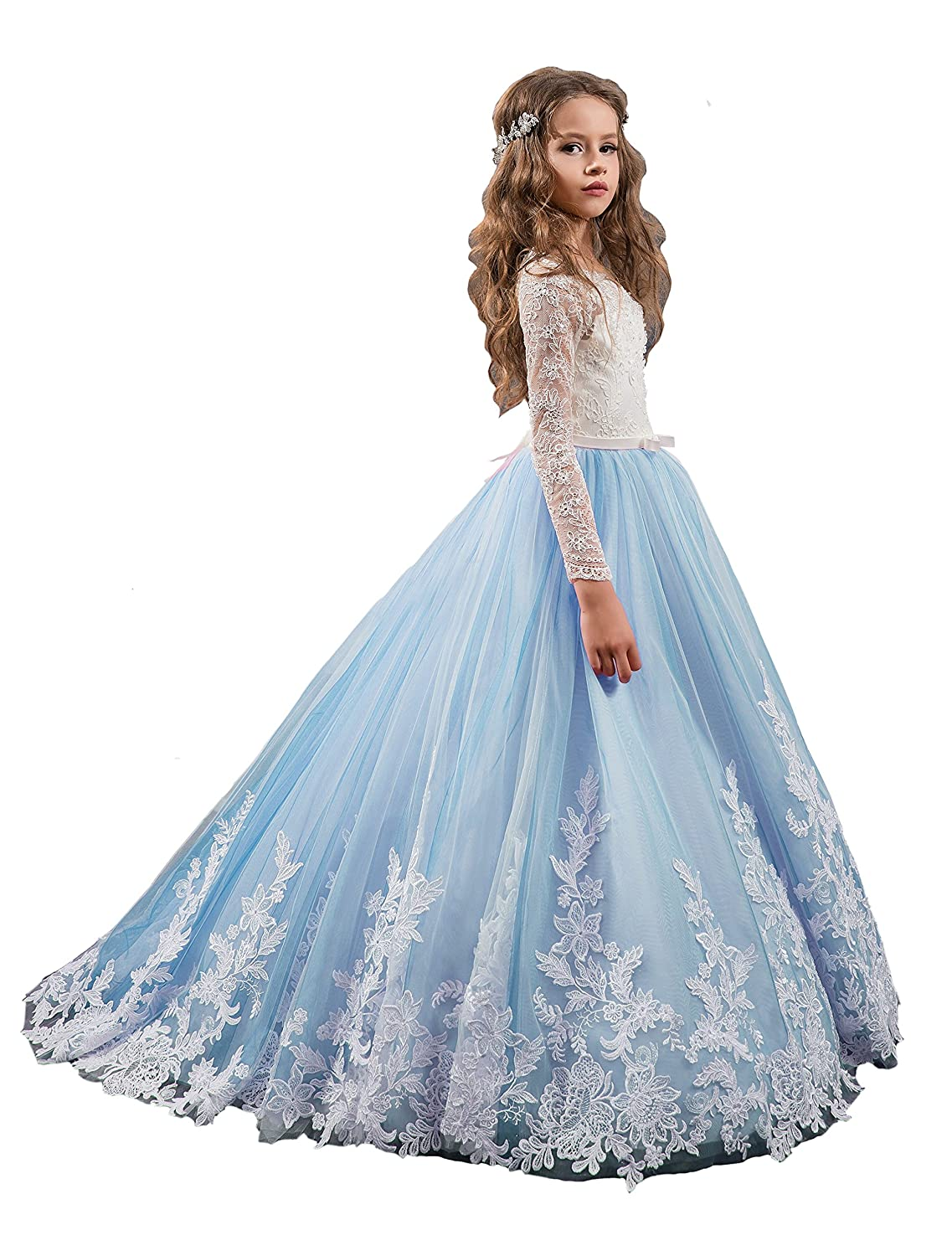Amazon.com: Sunday Princess Long Girls Pageant Dresses Kids Prom ...