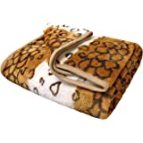 Extra Large Super Soft Mink Faux Fur Fleece Throw Blanket 200cms x 240cms, Large 3 Seater Sofa / Bed Blanket / Throw (Leopard Print)