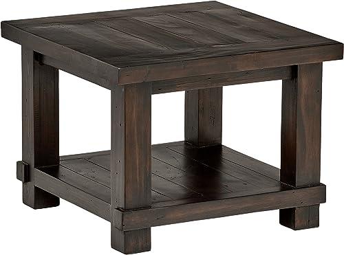 Stone Beam Ferndale Rustic Reclaimed Pine Side End Table, 24 W, Espresso