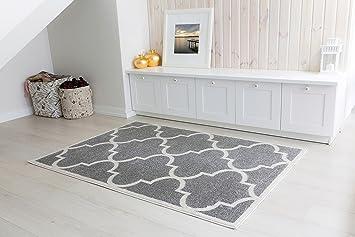 Kurzflor Teppich 160x230 ~ Designer grauer kurzflorteppich talizman grey cremig weißes