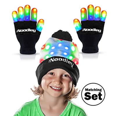 The Noodley Flashing LED Light Gloves and Beanie Hat Set - Kids Size and Adult Size - Extra Batteries (Medium, Black): Toys & Games