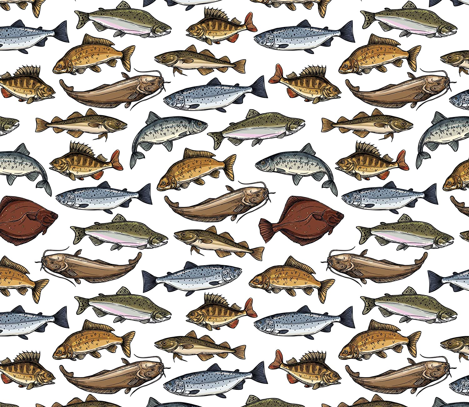 Fishing Gift Wrap Fish Wrapping Paper Men - Folded Flat 30 x 20 Inch - 3 Sheets